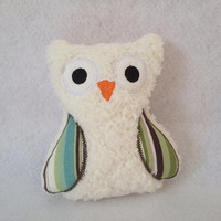 Cream Softie Plush Owl with brown teal green and cream colored wings