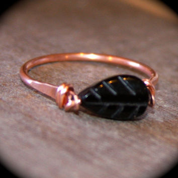 Black Onyx Copper Ring or Solid Sterling Silver, Handmade Ring, Wire Wrapped Gemstone Ring, Leaf Ring, Toe Ring, Midi Ring, Woodland Ring