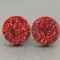 Fake Plugs, Stud Earrings :Bright Red, Glitter, Holiday, Christmas, Artisan Tree, 13mm, Sparkle, Galaxy, Dorothy