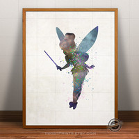 Tinkerbell Print Watercolor, Peter Pan Poster, Fairy Art, Illustrations, Watercolour, Giclee Wall, Disney Artwork, Comic, Fine, Home Decor