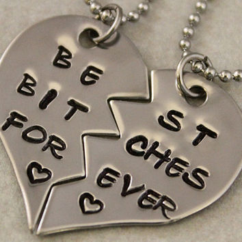 Best Bitches Forever Necklaces - Hand Stamped BFF Split Heart  Jewelry, Best Bitches Jewelry - Best Friend Necklaces -  Stainless Steel