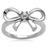Sterling Silver Diamond Accent Bow Ring (0.03 cttw, I-J Color, I2-I3 Clarity), Size 7