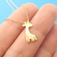 Simple Giraffe Silhouette Shaped Pendant Necklace in Gold | Animal Jewelry