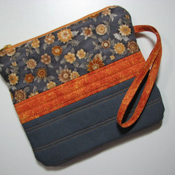 Quilted Zippered Clutch--Grey/Rust Ornate Floral, Wrist Strap