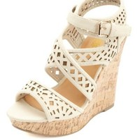 Laser-Cut Strappy Platform Wedges by Charlotte Russe - Stone