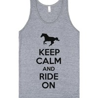 Keep Calm and Ride On (Tank)-Unisex Athletic Grey Tank