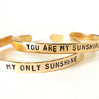 mother daughter jewelry - best friend bracelets - you are my sunshine my only sunshine - gift for her