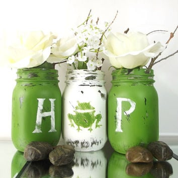 Spring, Home Decor - Hand Painted Mason Jars | Rustic - Style, Green and White Painted Mason Jars