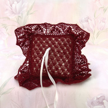 Elegant Lace Ring Bearer Pillow, Hand-knitted Brownish Red Ring Pillow, Wedding Accessory, Bridal Accessory