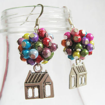 """$13.00 Flying House Earrings Inspired by """"Up"""" by CissyPixie on Etsy"""