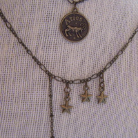 Zodiac Series - Aries Constellation Double Chain Charm Necklace - March 20th to April 19th