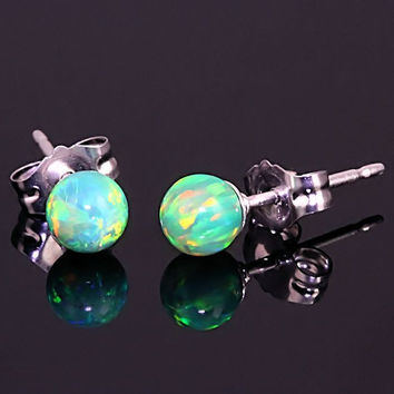 925 Sterling Silver 4mm Australian Margarita Kelly Green Opal Ball Stud Post Earrings