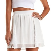 Ivory Chiffon & Lace Skater Skirt by Charlotte Russe