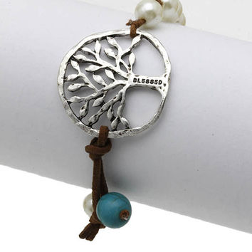 Blessed Tree of Life Bracelet in Leather and Beads