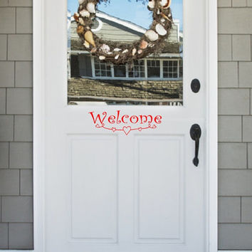 Valentines Day Welcome with Doodle Hearts Vinyl Door Decal Wall Decal 22500