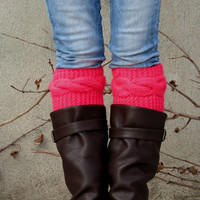 Knitted Boot Cuff Woman - Neon Pink Short Cable Knit Boot Cuffs. Short Leg Warmers. Crochet Boot Cuffs - Neon Pink Legwear - Boot Socks