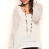 Long Sleeve Metallic Knit Top with Envelope Back