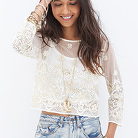 FOREVER 21 Embroidered Metallic Top Cream/Gold