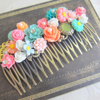 Bridal Hair Comb Shabby Chic Wedding Hair Comb Gold Peach Turquoise Aqua Sea Foam Mint Green Blue Pink Bright Colorful Spring Summer