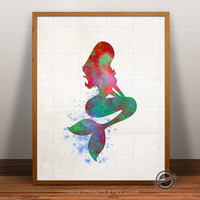Mermaid Print Watercolor, The Little Mermaid Poster, Disney Art, Illustration, Watercolour, Giclee Wall, Artwork, Comic, Fine, Home Decor