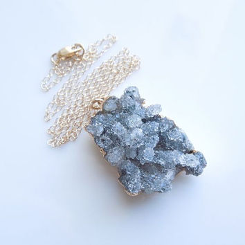 Charcoal Druzy Necklace