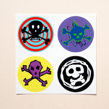 Skull stickers by purplecactusdesign on Etsy