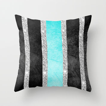 Black-Mint-Glitter Design Throw Pillow by Sanja Amic