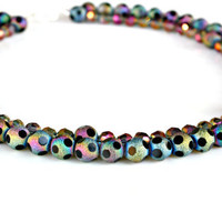 Rainbow Crystal Necklace - Classic Double Strand Smoky Black Crystals with Rainbow Shimmer Statement Piece by Mei Faith