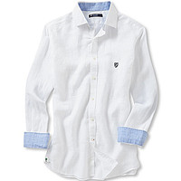 Cremieux Long-Sleeve Washed Linen Elbow-Patch Woven Shirt - White/Mult