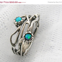 WEEKEND SALE Sterling silver organic design Opal ring (sr-9906) opal jewelry, gift for her, birthday gift ideas
