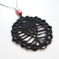 Long beaded necklace,black cord necklace, black pendant, crochet pendant,cord thread necklace,motif necklace,women's jewelry,boho necklace