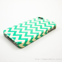 Mint Chevron iPhone 4 Case, iPhone 4s Case, iPhone 4 Cover, Hard iPhone 4 Case