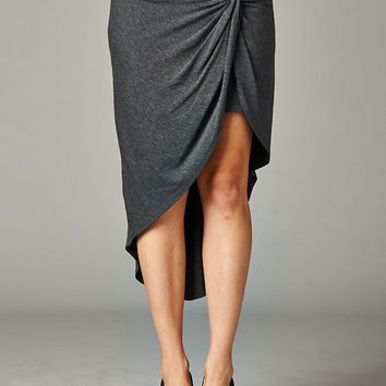 Charcoal Front Knot Jersey Skirt