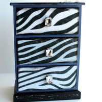 One of a Kind Zebra Jewelry Box, Stash Box, Trinket Box