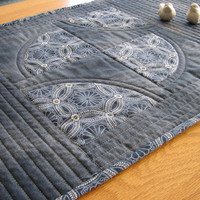 Quilted Indigo Table Runner, Boro Inspired, Reversible