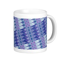 Pretty Abstract Accident in Purple and Blue Coffee Mugs