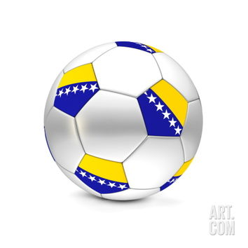 Soccer Ball/Football Bosnia and Herzegovina Art Print by PixBox at Art.com