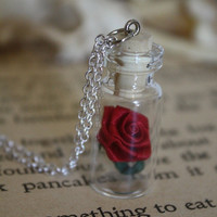 Beauty and the Beast Rose Vial Necklace You Choose by spacepearls
