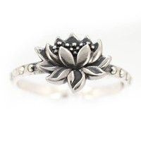 Detailed Lotus Blossom Flower Ring in Sterling Silver, Size 7, #7428
