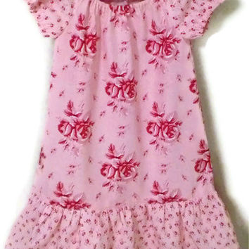 Girls Peasant Dress with Ruffled Hem, Pink and Roses, Sizes 1 - 4T