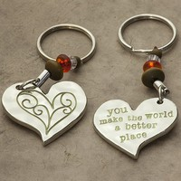 Make  The  World  Better  Token  Keychain  From  Natural  Life