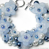 Sleeping Beauty Blue Floral Crystal Pearl by whimsydaisydesigns