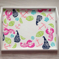 "Lilly Pulitzer ""Summer Classic"" inspired accessory tray with monogram"