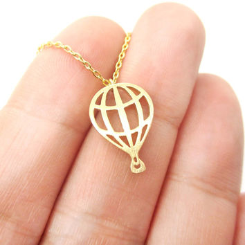 Miniature Hot Air Balloon Shaped Cut Out Charm Necklace in Gold   DOTOLY
