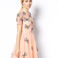 ASOS Skater Dress With Bow Embroidery