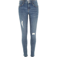 River Island Womens Mid wash distressed Amelie superskinny jeans