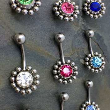 Crystal Flower Belly Ring