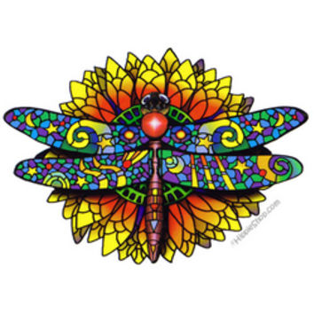 Stained Glass Dragonfly 2-Sided Window Sticker on Sale for $3.99 at HippieShop.com