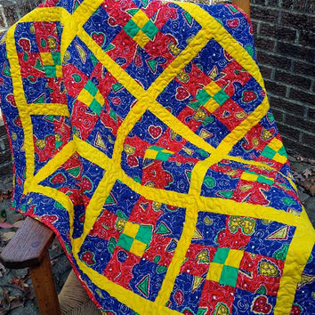 "Bright Primary Colors Patchwork Lap Quilt - Baby Blanket - Toddler Quilt - Sofa Throw - 37"" x 48"""