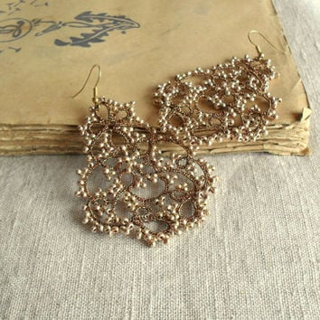 Bronze and golden chandelier earrings, handmade tatting lace, statement earrings, ready to ship